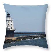 Harbor Of Refuge Lighthouse II Throw Pillow