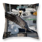 Harbor Pelican And Gull Throw Pillow