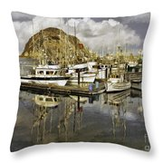 Harbor Reflection Impasto Throw Pillow