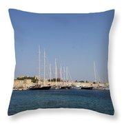 Harbor Rhodos City Throw Pillow
