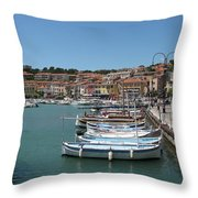 Harbor Scene Cassis  Throw Pillow