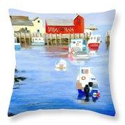 Harbor Scene Throw Pillow