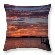 Harbor Side Sunset At Boat Dock Throw Pillow