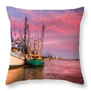 Harbor Sunset Throw Pillow by Debra and Dave Vanderlaan
