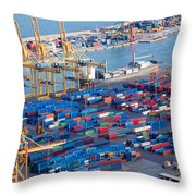 Harbor With Lots Of Cargo Throw Pillow
