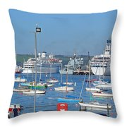 Harbour And Queen's Wharf - Falmouth Throw Pillow