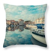 Harbour Of Grado Throw Pillow