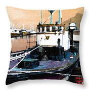 Harbour Scene Throw Pillow