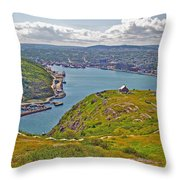Harbour View From Signal Hill National Historic Site In Saint John's-nl Throw Pillow