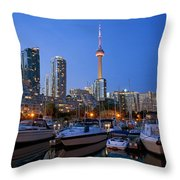 Harbourfront Marina West At Dusk Throw Pillow