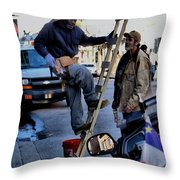 Hard At Work Throw Pillow