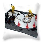 Hard Drive Repair Throw Pillow by Olivier Le Queinec