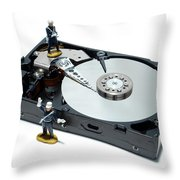 Hard Drive Security Throw Pillow by Olivier Le Queinec