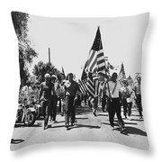 Hard Hat Pro-viet Nam War March Saluting Cops Tucson Arizona 1970 Black And White Throw Pillow