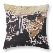 Hare And Cock Are Under The Shed Hut Throw Pillow