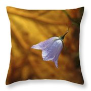 Hare Bell And Gold Leaf Throw Pillow by Roger Snyder