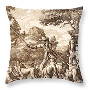 Hare Hunting, Engraved By Wenceslaus Throw Pillow