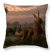 Hares In The Wetlands Throw Pillow