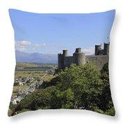 Harlech Castle Snowdonia Throw Pillow