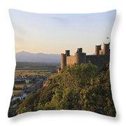 Harlech Castle Wales Throw Pillow