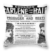 Harlene For The Hair, 1897 Throw Pillow
