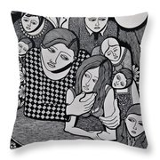 Harlequin And The Masked Moon Throw Pillow