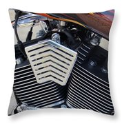 Harley Close-up Orange Flame Throw Pillow