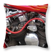 Harley Close-up Pink And Red Flames Throw Pillow