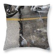 Harley Close-up Rain Reflections Tall Throw Pillow