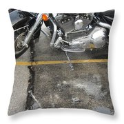 Harley Close-up Rain Reflections Wide Throw Pillow