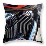 Harley Close-up Red Flame 1 Throw Pillow