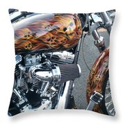 Harley Close-up Skull Flame  Throw Pillow