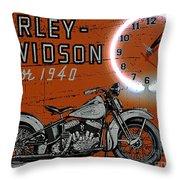 Harley Davidson 1940s Sign Throw Pillow