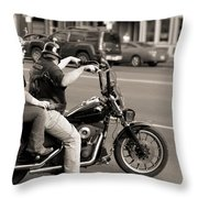 Harley Davidson Black And White Throw Pillow
