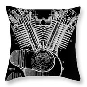 1923 Harley Davidson Black And White Engine Patent Throw Pillow