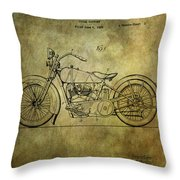 Harley Davidson Motorbike Patent  Throw Pillow