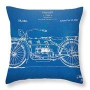 Harley-davidson Motorcycle 1919 Patent Artwork Throw Pillow by Nikki Marie Smith