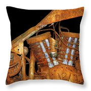 Antique Harley Davidson Motorcycle Throw Pillow