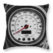 Harley Davidson Motorcycle Speedometer Harley Bike Bw  Throw Pillow