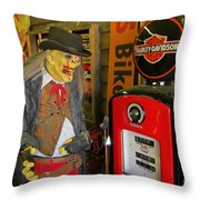 Harley Davidson Vintage Gas Pump Throw Pillow