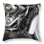 Harley Engine Close-up Rain 1 Throw Pillow