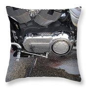 Harley Engine Close-up Yellow Line Throw Pillow