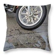 Harley Reflection In Rain  Throw Pillow