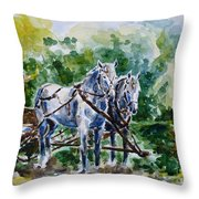 Harnessed Horses Throw Pillow