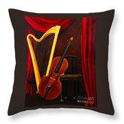 Harp And Cello Throw Pillow