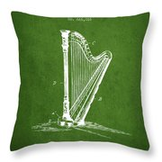 Harp Music Instrument Patent From 1901 - Green Throw Pillow
