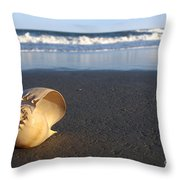 Harp Shell On Beach Throw Pillow