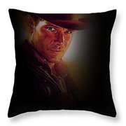 Harrison Ford As Indiana Jones Throw Pillow
