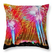 Hart Plaza Fireworks Throw Pillow