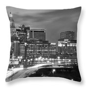 Hartford Skyline At Night Bw Black And White Panoramic  Throw Pillow